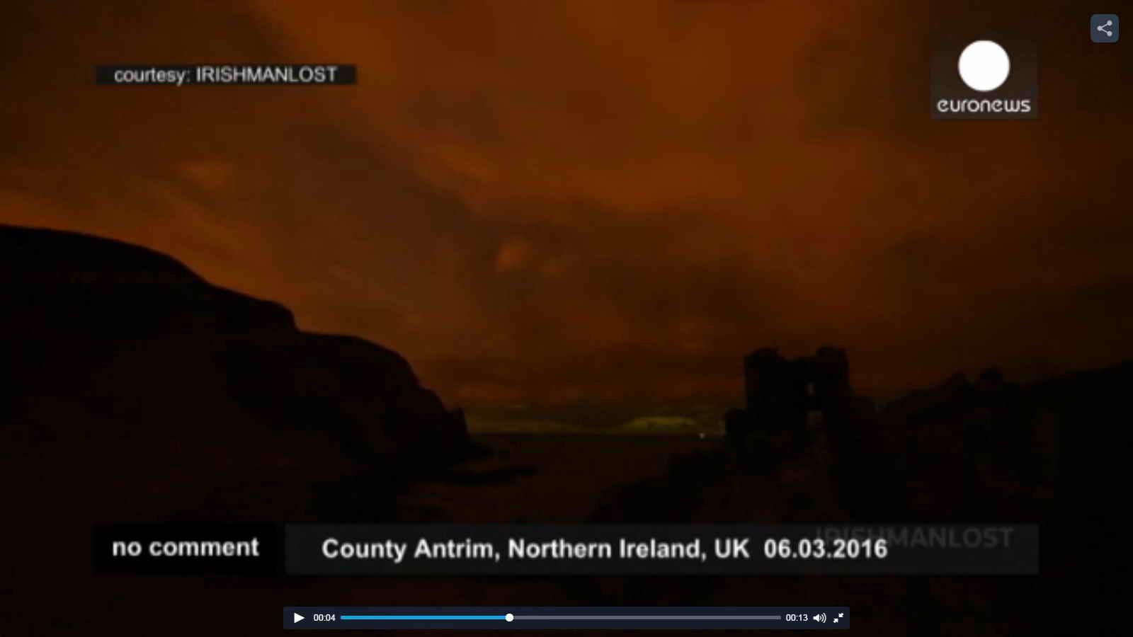 فیلمی کمیاب از شفق شمالی در ایرلند